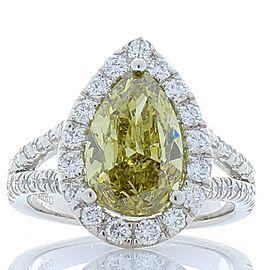 GIA Certified 3.01 Carat Pear Shape Fancy Yellow Diamond Cocktail Ring In Plat