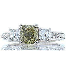 1.02 Carat Cushion Cut Fancy Brown Diamond Cocktail Ring in 18 Karat White Gold