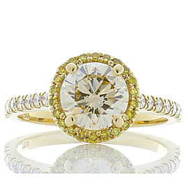 Ring 18KY, Dia 1.37CT 7.14 X 7.12 BR Light Yellow VS, 0.16CTW BR Fancy Yellow Melee, 0.27CTW BR White Melee