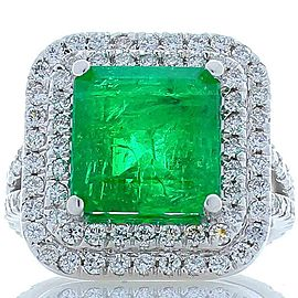 5.30 Carat Emerald Cut Emerald and Diamond Cocktail Ring in 18 Karat White Gold
