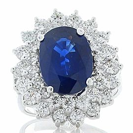 PGS Certified 4.05 Carat Oval Blue Sapphire & Diamond Cocktail Ring In 14K Gold