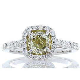 1.14 Carat Cushion Cut Fancy Yellow Diamond Cocktail Ring in 14 Karat White Gold
