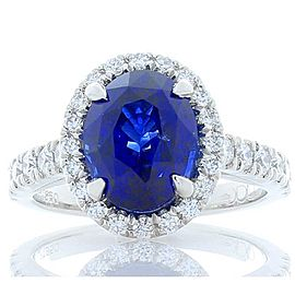 4.23 Carat Oval Blue Sapphire and Diamond Cocktail Ring in Platinum