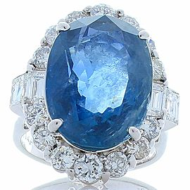 PGS Certified 14.37 Carat Oval Blue Sapphire & Diamond Cocktail Ring In Platinum