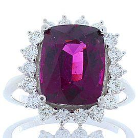 EGL Certified 5.14 Carat Cushion Cut Rhodolite Garnet and Diamond Cocktail Ring