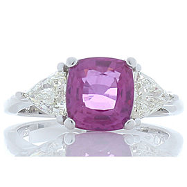 Emteem Lab Certified 3.07 Carat Cushion Cut Pink Sapphire and Diamond Ring