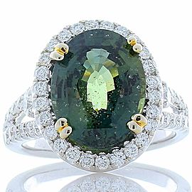 Emteem Lab Certified 6.12 Carat Oval Green Sapphire and Diamond Cocktail Ring