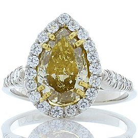 GIA Certified 2.50 Carat Pear Shape Fancy Yellow Diamond Two-Tone Cocktail Ring