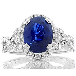 Emteem Lab Certified 4.11 Carat Total Oval Blue Sapphire and Diamond Gold Ring