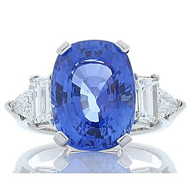 GIA Certified 10.12 Carat Cushion Blue Sapphire & Diamond Cocktail Ring In Plat