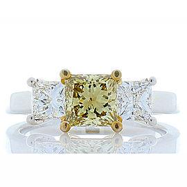 GIA Certified 1.04 Carat Princess Cut Fancy Brownish Yellow Diamond Ring in Plat