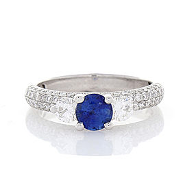 0.77 Carat Blue Sapphire and Diamond Cocktail Ring in 18 Karat White Gold