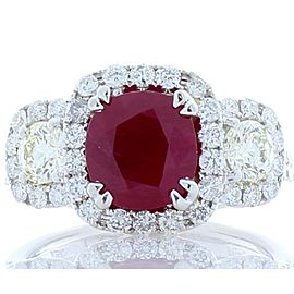 2.03 Carat Cushion Cut Ruby and Diamond Cocktail Ring in 18 Karat White Gold