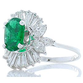 1.31 Carat Oval Emerald, Marquise & Baguette Diamond Cocktail Ring In White Gold