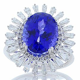 7.00 Carat Oval Tanzanite and Baguette Diamonds Cocktail Ring in 18 Karat Gold