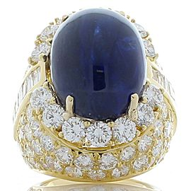 GIA Certified 24.50 Carat Oval Cabochon Blue Sapphire and Diamond Cocktail Ring