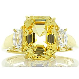 GII Certified 5.05 Carat Asscher Cut Yellow Sapphire and Cadillac Diamond Ring
