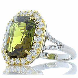 GIA Certified 10.55 Carat Octagonal Alexandrite and Diamond Cocktail Ring