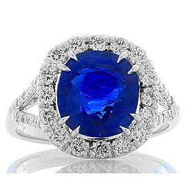 GLC Certified 4.60 Carat Cushion Blue Sapphire and White Diamond Ring in Plat