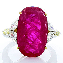 AGL Certified 12.22 Carat Oval Ruby and Marquise Diamond Cocktail Ring