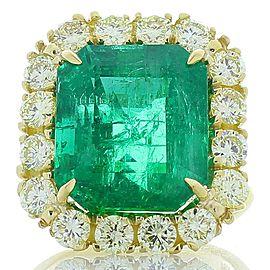 11.53 Carat Emerald Cut Emerald and Fancy Light Yellow Diamond Cocktail Ring
