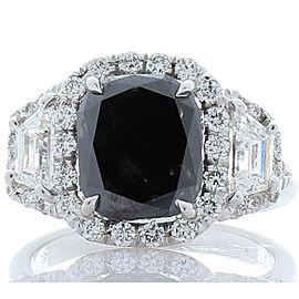 GIA Certified Natural 3.47 Carat Cushion Black Diamond Cocktail Ring in 18 K