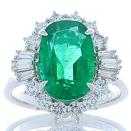 3.74 Carat Emerald and Diamond Cocktail Ring in 18 Karat White Gold