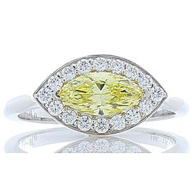 GIA Certified 0.69 Carat Marquise Fancy Intense Yellow Diamond Cocktail Ring