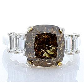 GIA Certified 6.04 Carat Cushion Fancy Dark Brown Diamond Cocktail Ring in Plat