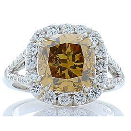GIA Certified 4.01 Carat Cushion Fancy Brown Diamond Cocktail Ring in Platinum