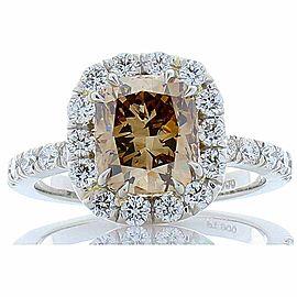 GIA Certified 2.45 Carat Cushion Cut Fancy Dark Yellowish Brown Diamond Ring