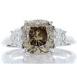 GIA Certified 3.06 Carat Cushion Cut Fancy Yellowish Brown Diamond Cocktail Ring