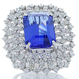 8.62 Carat Emerald Cut Tanzanite and Diamond Cocktail Ring in 14 Karat Gold