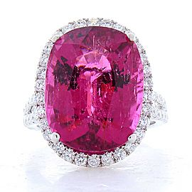 15.57 Carat Total Oval Rubellite and Diamond Cocktail Ring in 18 Karat Gold