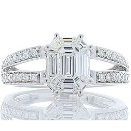 0.92 Carat Total Illusion Set Diamond Cocktail Ring in 18 Karat White Gold