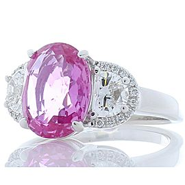 Emteem Certified 3.75 Carat Oval Pink Sapphire & Diamond Cocktail Ring In 18K