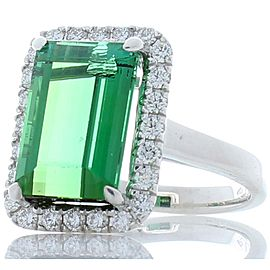 6.60 Carat Emerald Cut Green Tourmaline and Diamond Cocktail Ring in 18 Karat