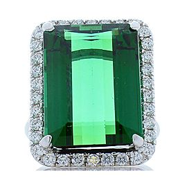 16.30 Carat Emerald Cut Green Tourmaline and Diamond Ring in 18 Karat White Gold