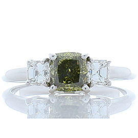 GIA Certified 1.00 Carat Fancy Dark Grey-Yellowish Green Diamond Cocktail Ring