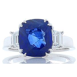 Emteem Certified 5.60 Carat Cushion Cut Blue Sapphire and Diamond Cocktail Ring