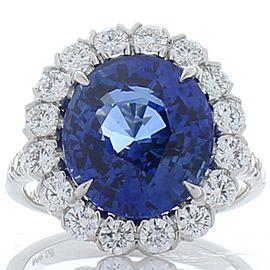 Emteem Certified 7.50 Carat Oval Blue Sapphire & Diamond Cocktail Ring In Plat