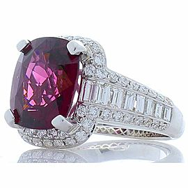 Emteem Lab Certified 6.47 Carat Cushion Cut Red Garnet and Diamond Cocktail Ring