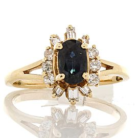 Ring 14KY, Sapp & Dia 0.59CT SAPH 0.31CTW RD & BAG