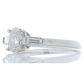 0.59 Carat Oval Diamond and Baguette Diamond Cocktail Ring in Platinum