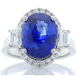 TIGL Certified 5.91 Carat Oval Blue Sapphire & Diamond Cocktail Ring In Platinum
