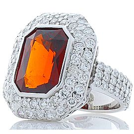 9.03 Carat Emerald Cut Garnet and Diamonds White Gold Cocktail Ring