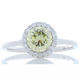 GIA Certified 1.01 Carat Natural Fancy Yellow Diamond White Gold Cocktail Ring