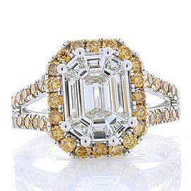 2.11 Carat Emerald Cut Diamond & Fancy Yellow Diamond Cocktail Ring In 18 K Gold