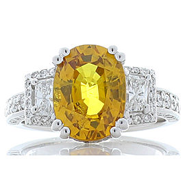 4.50 Carat Oval Yellow Sapphire and Diamond White Gold Cocktail Ring