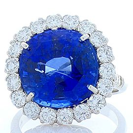 EG Lab Certified 12.63 Carat Cushion Blue Sapphire and Diamond Cocktail Ring
